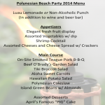 The 2014 Polynesian Beach Party menu.